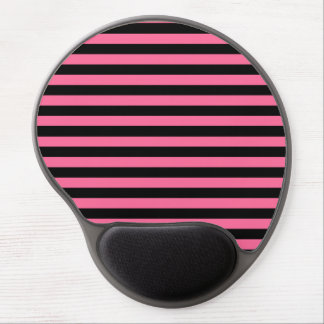 Pink and Black Stripes Gel Mousepad