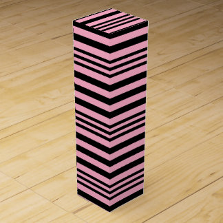 Pink and Black Stripes X 3 Wine Box