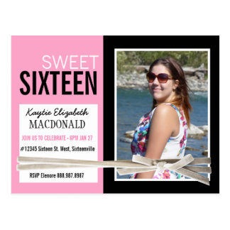 Pink and Black Sweet 16 Party with Photo Postcard