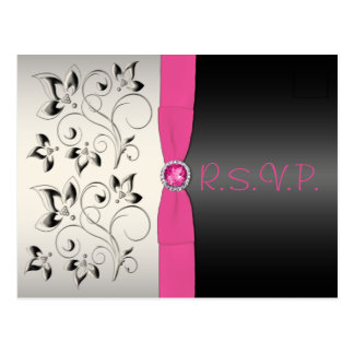 Pink and Black Sweet 16 RSVP Postcard