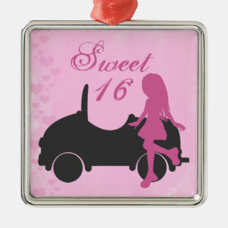 Pink and Black Sweet 16 Silhouette Girl and Car Metal Ornament