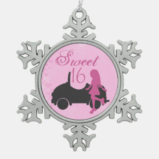 Pink and Black Sweet 16 Silhouette Girl and Car Snowflake Pewter Christmas Ornament