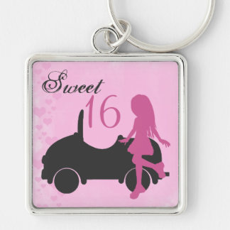 Pink and Black Sweet 16 Silhouette Girl with Car Key Ring