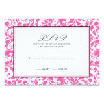 Pink and Black Swirl Damask Wedding Response Card 9 Cm X 13 Cm Invitation Card