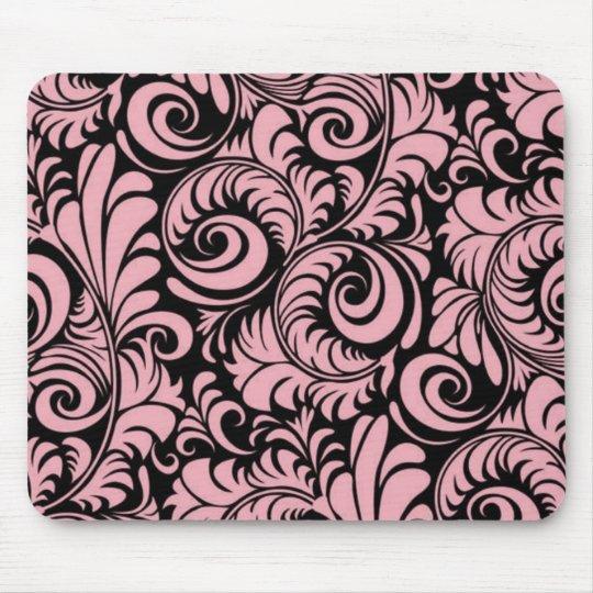 Pink and Black Swirls Mousepad
