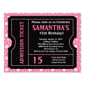 Pink and Black Ticket Invitation Any Age