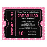 Pink and Black Ticket, Sweet 16 or Any Age Personalized Invites