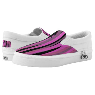 Pink and Black Tiger Camo Slip On Shoes