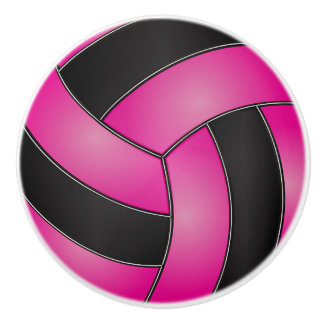 Pink and Black Volleyball Ceramic Knob