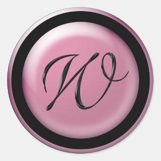 Pink And Black Wedding Monogram W Envelope Seal Round Sticker