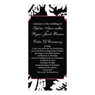 pink and black Wedding program Rack Card Design