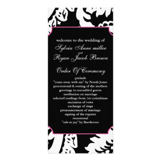 pink and black Wedding program Rack Card Template
