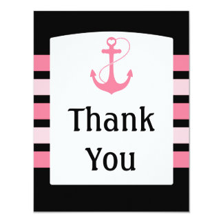 Pink and Black Wedding Thank You Card