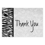 Pink and Black Zebra and Damask Wedding Thank You Business Card Template