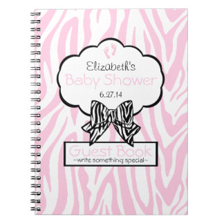 Pink and Black Zebra- Baby Shower Guest Book- Notebook