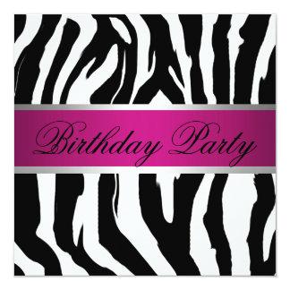 Pink and Black Zebra Birthday Party 13 Cm X 13 Cm Square Invitation Card