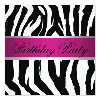Pink and Black Zebra Birthday Party Card