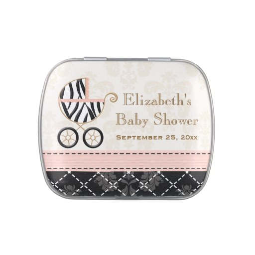 Pink and Black Zebra Carriage Baby Shower Favor Candy Tins