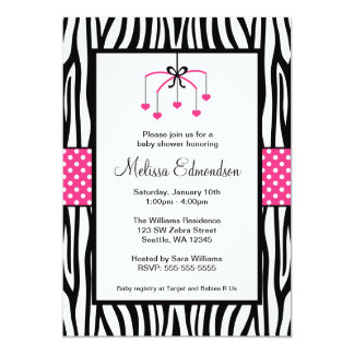 Pink and Black Zebra Heart Mobile Baby Shower 13 Cm X 18 Cm Invitation Card