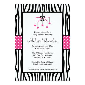 Pink and Black Zebra Heart Mobile Baby Shower Invite