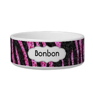 Pink and Black Zebra Print bling (faux glitter) Bowl