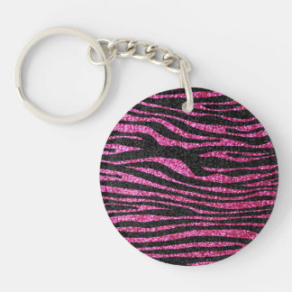Pink and Black Zebra Print bling (faux glitter) Double-Sided Round Acrylic Key Ring