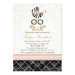 Pink and Black Zebra Print Carriage Baby Shower Personalised Announcement