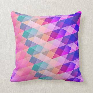 Pink and Blue Abstract Geometric Cushion
