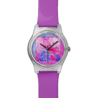 Pink And Blue Abstract Watch