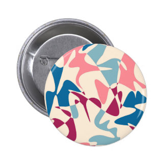Pink and blue abstraction 6 cm round badge