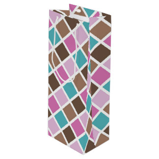 Pink and Blue Baby Girl Squares Wine Gift Bag