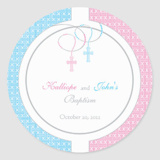Pink and Blue Baptism Favor Sticker