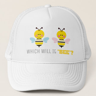 Pink and Blue Bees Gender Reveal Baby Shower Trucker Hat