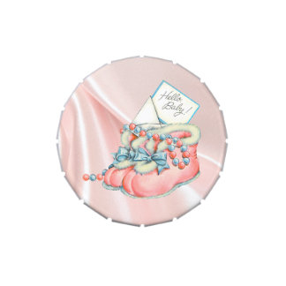 Pink and Blue Booties Baby Shower Jelly Belly Tin