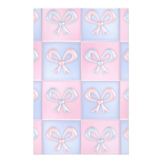 Pink and Blue Bows Stationery Paper