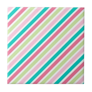 Pink and Blue Bright Stripes Ceramic Tile