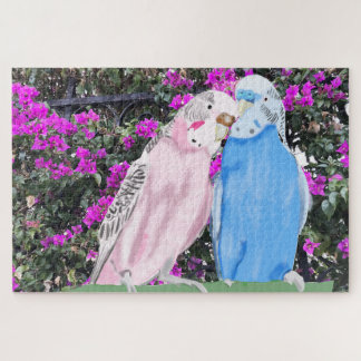 Pink and Blue Budgie and Bougainvillea Jigsaw Puzzle