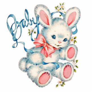 Pink and Blue Bunny Rabbit Baby Shower Standing Photo Sculpture
