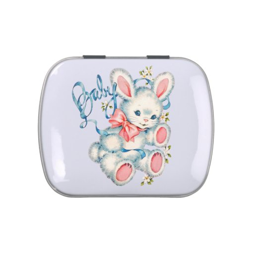 Pink and Blue Bunny Rabbit Baby Shower Candy Tin