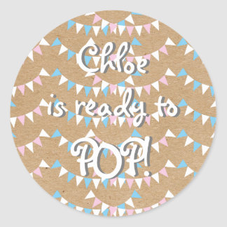 Pink and Blue Bunting Ready to POP! Baby Shower Round Sticker