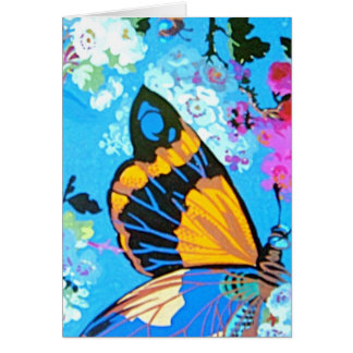 Pink and Blue Butterfly greeting or note Card