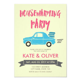 Pink and Blue Car Housewarming Party Invitation