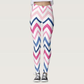 Pink and Blue Chevron Leggings