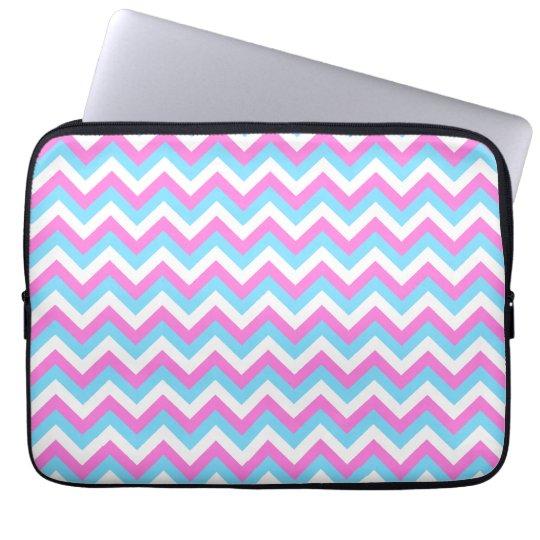 Pink and Blue Chevron Zig Zag Stripes. Laptop Sleeve