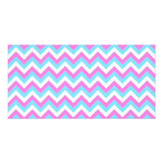 Pink and Blue Chevron Zig Zag Stripes. Picture Card