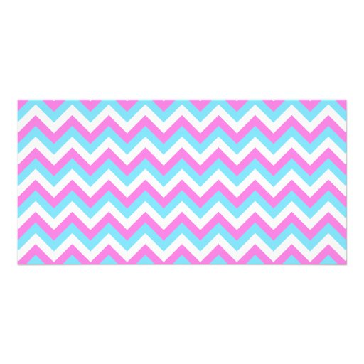 Pink and Blue Chevron Zig Zag Stripes. Photo Card Template