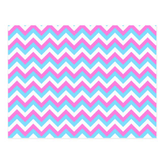 Pink and Blue Chevron Zig Zag Stripes Postcards