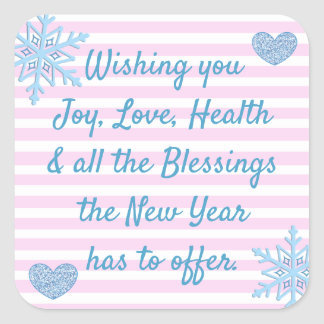 Pink and Blue Christmas Blessings Stickers