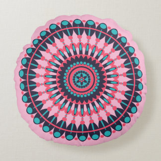 Pink and Blue Circular Pattern Pillow