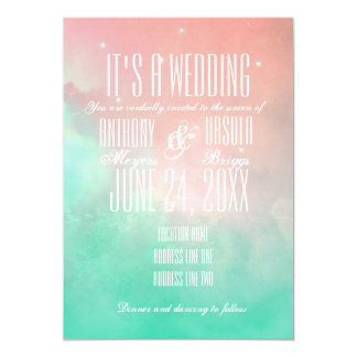 Pink and Blue Coastal Wedding Invitation